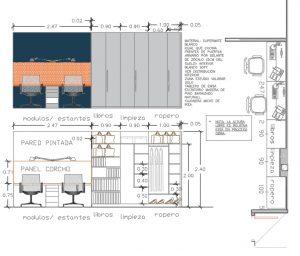 Diseño de zona estudio y almacenaje.
