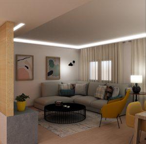 DISEÑAR A MEDIDA SALÓN COMEDOR. ZONA ESTAR. Bandeja de pladur a techo con luz regulable en intensidad. Textiles a techo. Sofá rinconero y butaca estructural.