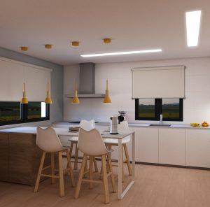 VISTA DESDE ISLA HACIA ENTRADA- SALÓN. PENINSULA INTEGRANDO COMEDOR CON UN ESPACIO PARA ELLO DE 160CM, EL RESTO ES ALMACENAJE A AMBAS CARAS PARA DAR SERVICIO A LA ZONA DE COMER. Luz general a techo con luminaria lineal, luz bajo muebles altos y almacenaje de suelo a techo integrando electrodomésticos como frigorífico y congelador oculto. Encimera de olor con veta blanca.